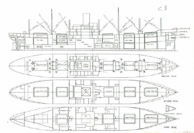 Basic General Arrangement plan of an American standard design C3 cargo ...